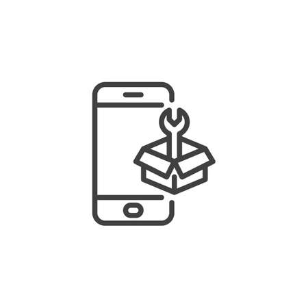 Phone repair service line icon. linear style sign for mobile concept and web design. Smartphone with tool box outline vector icon. Symbol, illustration. Vector graphics Foto de archivo - 129809936