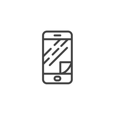 Phone screen protector glass line icon. linear style sign for mobile concept and web design. Smartphone display protect film outline vector icon. Symbol, illustration. Vector graphics