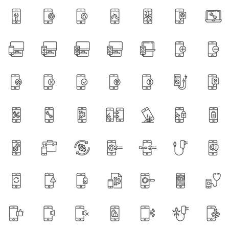 Mobile repair service line icons set. linear style symbols collection, outline signs pack. vector graphics. Set includes icons as screen protector glass, smartphone diagnostic, phone broken display