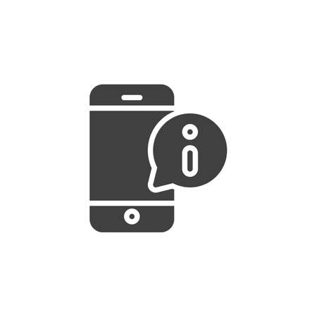 Mobile phone support message vector icon. filled flat sign for mobile concept and web design. Smartphone with information speech bubble glyph icon. Symbol, illustration. Vector graphics Çizim