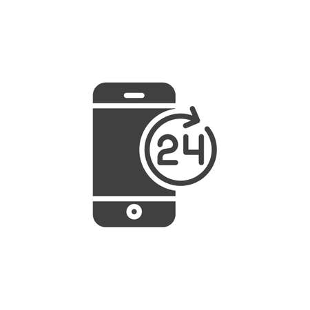 24 hours mobile service vector icon. filled flat sign for mobile concept and web design. Smartphone 24 technical support glyph icon. Symbol, illustration. Vector graphics
