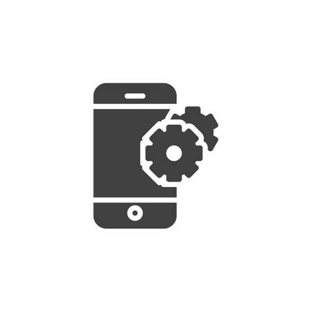 Phone Support vector icon. Smartphone with gears filled flat sign for mobile concept and web design. Mobile settings glyph icon. Technical support symbol, illustration. Vector graphics