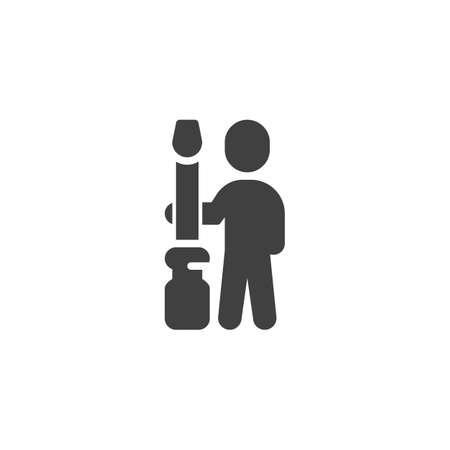 Man with screwdriver vector icon. Repair service filled flat sign for mobile concept and web design. Technical support glyph icon. Symbol,  illustration. Vector graphics