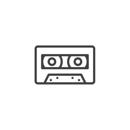 Audio cassette line icon. linear style sign for mobile concept and web design. Cassette tape outline vector icon. Symbol,  illustration. Vector graphics Ilustração