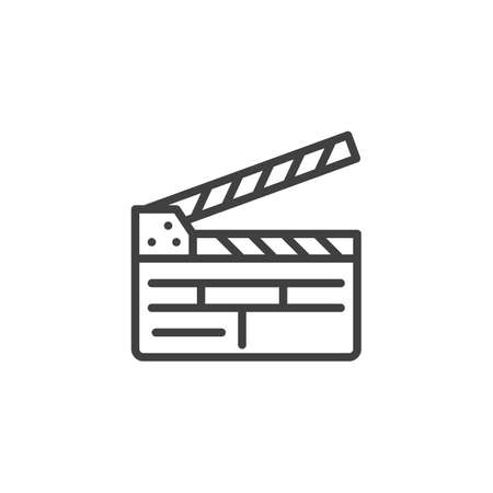 Clapper board line icon. clapboard linear style sign for mobile concept and web design. Movie clapper outline vector icon. Symbol, illustration. Vector graphics