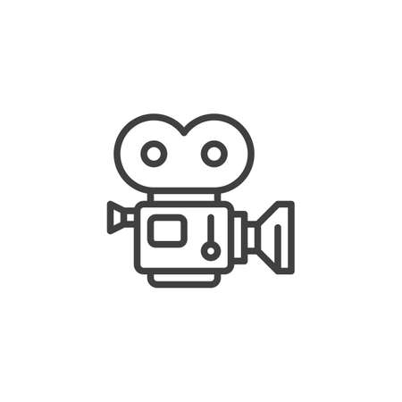 Movie camera with film strip line icon. linear style sign for mobile concept and web design. Camcorder, retro cinema projector outline vector icon. Symbol, illustration. Vector graphics