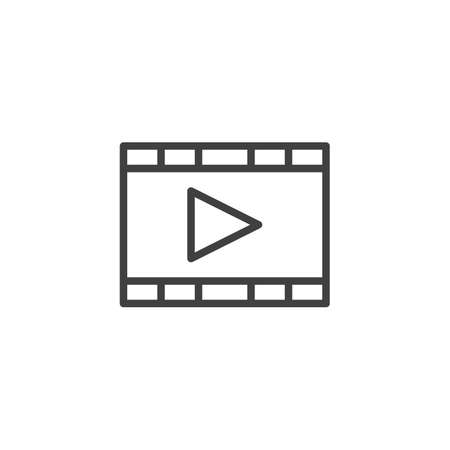 Film, movie line icon. Multimedia player linear style sign for mobile concept and web design. Play button outline vector icon. Symbol, illustration. Vector graphics