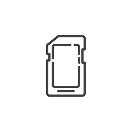 Micro sd card line icon. linear style sign for mobile concept and web design. Memory sd card outline vector icon. Symbol, illustration. Vector graphics