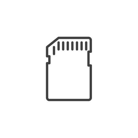 Memory sd card line icon. linear style sign for mobile concept and web design. Micro sd card outline vector icon. Symbol, illustration. Vector graphics