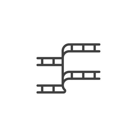 Film strip line icon. linear style sign for mobile concept and web design. Filmstrip outline vector icon. Symbol, illustration. Vector graphics
