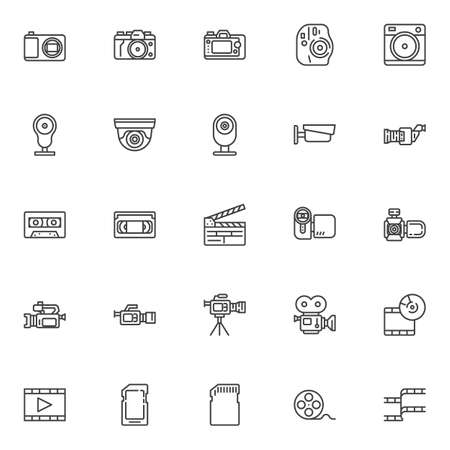 Video and photo line icons set. linear style symbols collection, outline signs pack. vector graphics. Set includes icons as movie camera, film strip, camcorder, webcam, cctv, cassette tape, sd card