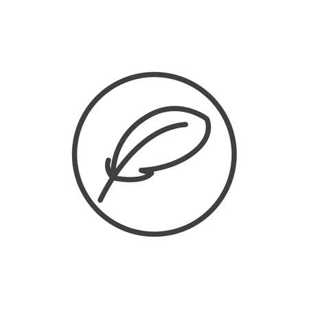 Feather, soft sleep line icon. linear style sign for mobile concept and web design. Feather label outline vector icon. Symbol, illustration. Vector graphics 스톡 콘텐츠 - 129810130