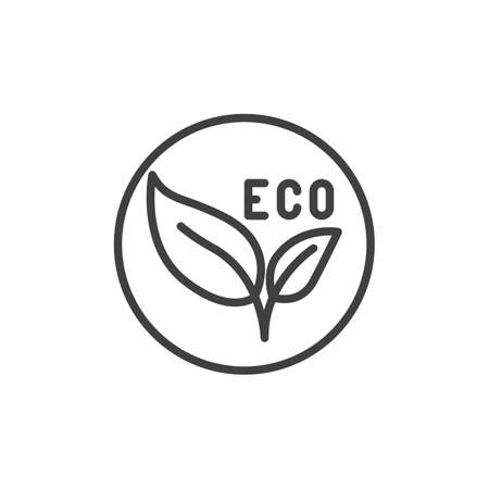 Eco leaves label line icon. linear style sign for mobile concept and web design. Eco material badge outline vector icon. Symbol, illustration. Vector graphics 일러스트