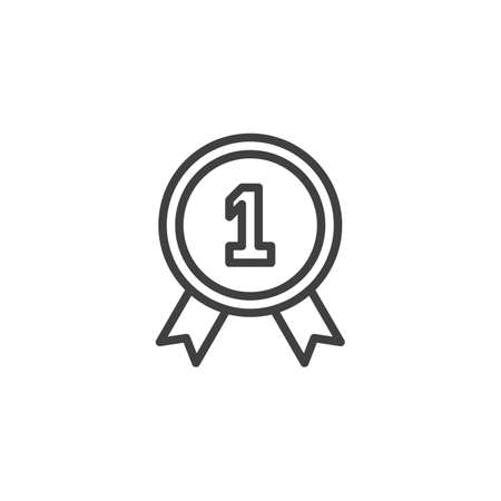 One year warranty badge line icon. linear style sign for mobile concept and web design. 1 year guarantee certificate outline vector icon. Symbol,  illustration. Vector graphics