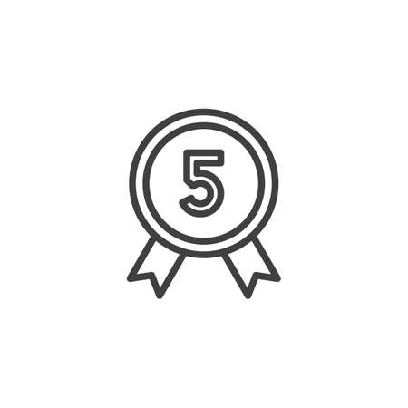 Five year warranty badge line icon. linear style sign for mobile concept and web design. 5 year guarantee certificate outline vector icon. Symbol,  illustration. Vector graphics