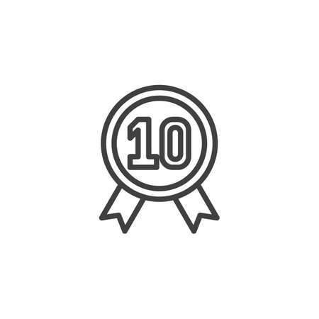 Ten year warranty badge line icon. linear style sign for mobile concept and web design. 10 year guarantee certificate outline vector icon. Symbol, illustration. Vector graphics Illusztráció