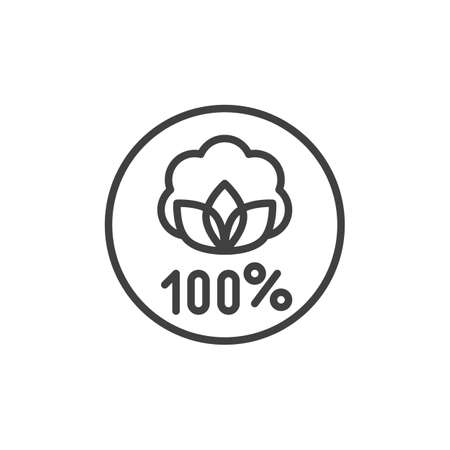 Organic linen label line icon. linear style sign for mobile concept and web design. Linen natural 100 hundred percent outline vector icon. Symbol,  illustration. Vector graphics 일러스트