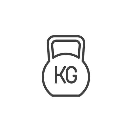 Weight kg line icon. linear style sign for mobile concept and web design. Gym Weight outline vector icon. Symbol, illustration. Vector graphics
