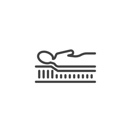 Correct sleep with Orthopedic mattress line icon. linear style sign for mobile concept and web design. Comfortable mattress outline vector icon. Symbol,  illustration. Vector graphics
