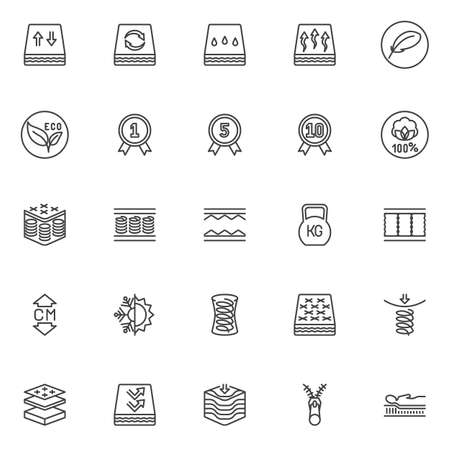 Orthopedic sleep line icons set. linear style symbols collection outline signs pack. vector graphics. Set includes icons as orthopedic mattress layers, breathable, spring, zipper, warranty certificate Illusztráció