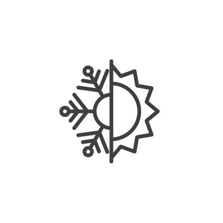 Icône de ligne résistante à la chaleur et au froid. Signe de style linéaire de flocon de neige et de soleil pour le concept mobile et la conception Web. Icône de vecteur de contour d'isolation de chaleur et de gel. Symbole, illustration. Graphiques vectoriels