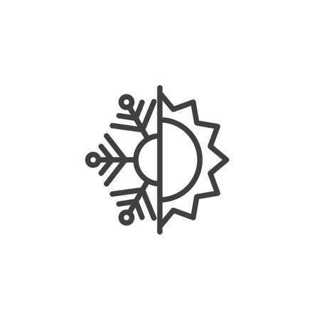 Icono de línea térmica y resistente al frío. Signo de estilo lineal de copo de nieve y sol para concepto móvil y diseño web. Icono de vector de contorno de aislamiento de calor y heladas. Símbolo, ilustración. Gráficos vectoriales