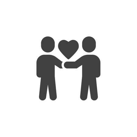 Couple people with heart vector icon. filled flat sign for mobile concept and web design. Love and friendship glyph icon. Symbol, illustration. Vector graphics