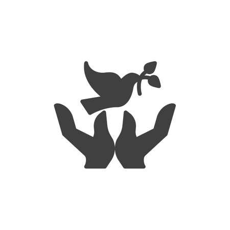 Dove with olive branch and hands vector icon. filled flat sign for mobile concept and web design. Freedom and peace glyph icon. Symbol,  illustration. Vector graphics Ilustracja