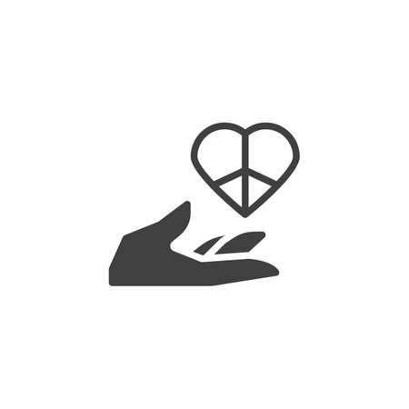 Love peace day vector icon. filled flat sign for mobile concept and web design. Hand with peace heart glyph icon. Symbol,  illustration. Vector graphics
