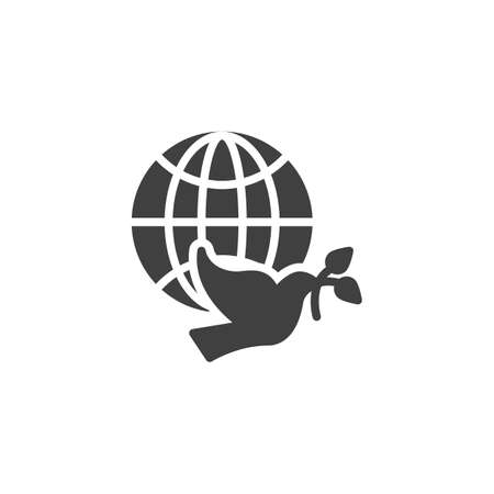 Dove of Peace vector icon. filled flat sign for mobile concept and web design. Pigeon with olive branch and world globe glyph icon. Freedom symbol, illustration. Vector graphics