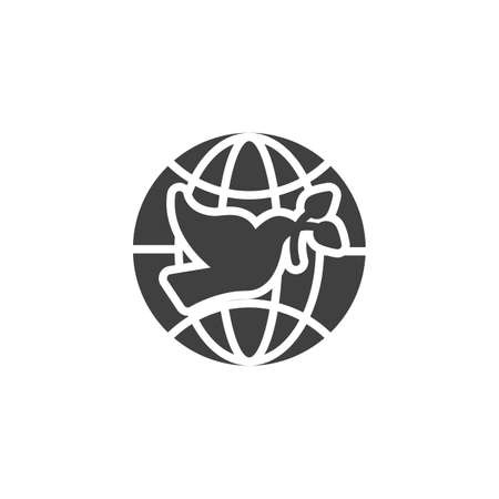 Pigeon with olive branch and world globe vector icon. filled flat sign for mobile concept and web design. Dove of Peace glyph icon. Freedom symbol, illustration. Vector graphics