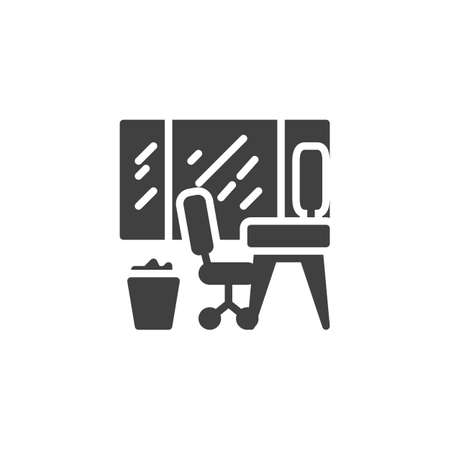 Office workplace with window and trash bin vector icon. filled flat sign for mobile concept and web design. Desktop computer, chair and basket glyph icon. Symbol,  illustration. Vector graphics Archivio Fotografico - 129810022