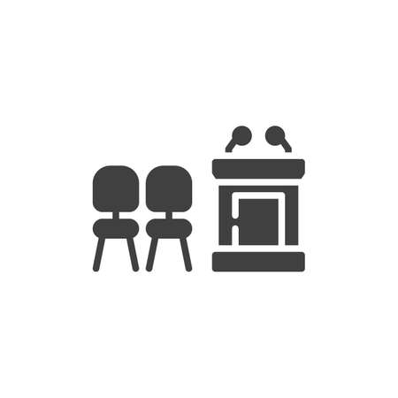 Chairs and speaker podium vector icon. filled flat sign for mobile concept and web design. Speech table and armchairs glyph icon. Symbol,  illustration. Vector graphics