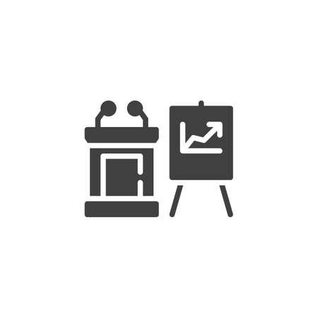 Business presentation vector icon. filled flat sign for mobile concept and web design. Speech podium and presentation screen glyph icon. Symbol, illustration. Vector graphics