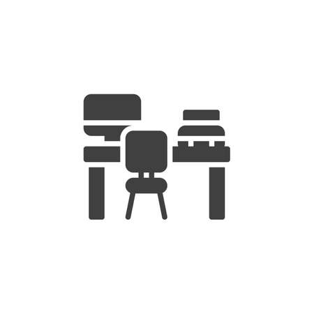 Office desk with computer and printer vector icon. filled flat sign for mobile concept and web design. Office workplace glyph icon. Symbol, illustration. Vector graphics Archivio Fotografico - 129810028