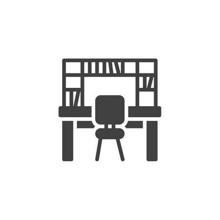 Workplace with bookcase vector icon. filled flat sign for mobile concept and web design. Office table with bookshelf and chair glyph icon. Symbol,  illustration. Vector graphics Archivio Fotografico - 129810029