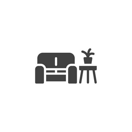Sofa and Coffee table with plant vector icon. filled flat sign for mobile concept and web design. Waiting room interior glyph icon. Symbol,  illustration. Vector graphics