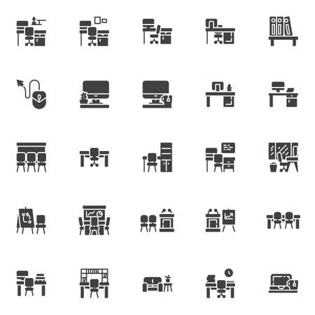 Office workplace vector icons set, modern solid symbol collection, filled style pictogram pack. Signs, illustration. Set includes icons as desk with computer monitor, chair, presentation screen 일러스트