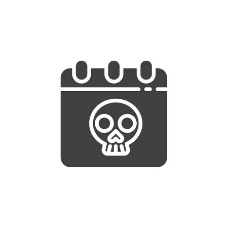 Halloween calendar vector icon. filled flat sign for mobile concept and web design. Calendar with skull glyph icon. Symbol, illustration. Vector graphics