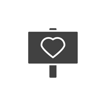 Heart signboard vector icon. filled flat sign for mobile concept and web design. Love peace glyph icon. Valentine day symbol,  illustration. Vector graphics