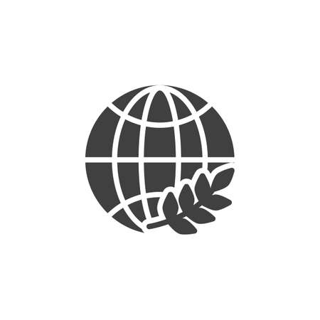 Day of Peace vector icon. filled flat sign for mobile concept and web design. World globe with olive branch glyph icon. Symbol, illustration. Vector graphics Illusztráció
