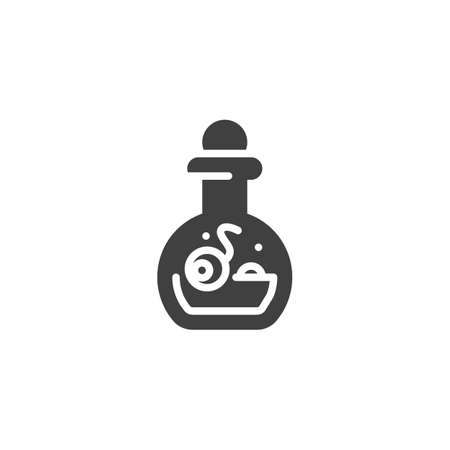 Halloween potion bottle vector icon. filled flat sign for mobile concept and web design. Witch bottle with human eyeball glyph icon. Symbol,  illustration. Vector graphics Иллюстрация