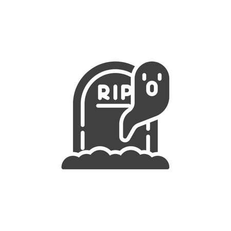 Halloween gravestone and ghost vector icon. filled flat sign for mobile concept and web design. Tombstone and ghost glyph icon. Symbol, illustration. Vector graphics