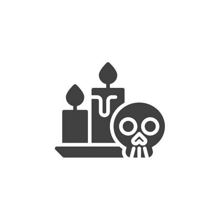 Halloween Skull and Candle vector icon. filled flat sign for mobile concept and web design. Human skull with candles glyph icon. Symbol,  illustration. Vector graphics Stock fotó - 129810322