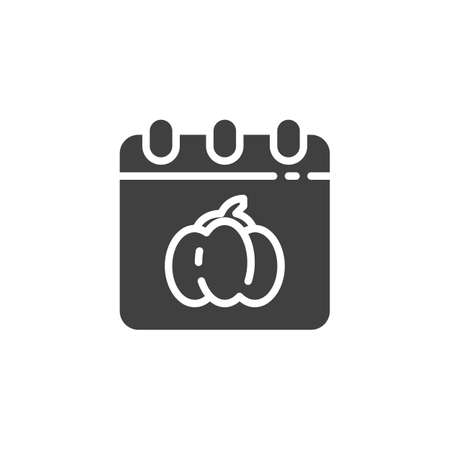 Halloween calendar page vector icon. filled flat sign for mobile concept and web design. Calendar with Halloween pumpkin glyph icon. Symbol,  illustration. Vector graphics Stok Fotoğraf - 129810319