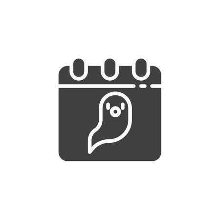 Calendar with ghost vector icon. filled flat sign for mobile concept and web design. Halloween calendar page glyph icon. Symbol, illustration. Vector graphics