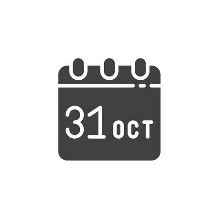 Calendar with Halloween date vector icon. filled flat sign for mobile concept and web design. October 31 calendar page glyph icon. Symbol,  illustration. Vector graphics