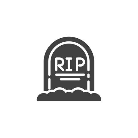 Rip Grave vector icon. Headstone filled flat sign for mobile concept and web design. Halloween tombstone glyph icon. Symbol, illustration. Vector graphics