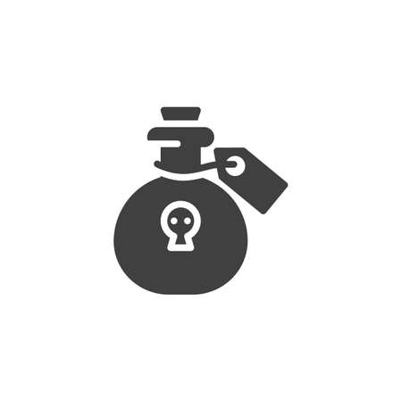 Poison bottle vector icon. Toxic liquid flask filled flat sign for mobile concept and web design. Bottle of death potion glyph icon. Symbol, illustration. Vector graphics Иллюстрация