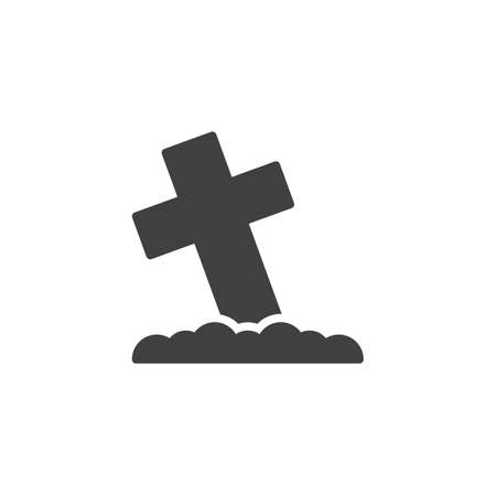 Graveyard cross vector icon. filled flat sign for mobile concept and web design. Cemetery cross glyph icon. Symbol, illustration. Vector graphics